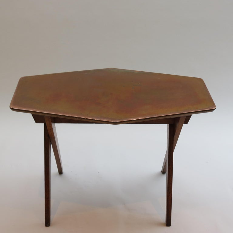 Vintage Copper and Oak Hexagonal Side Table, 1950s For Sale 1