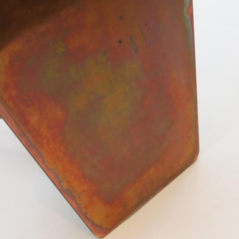 Vintage Copper and Oak Hexagonal Side Table, 1950s For Sale 2