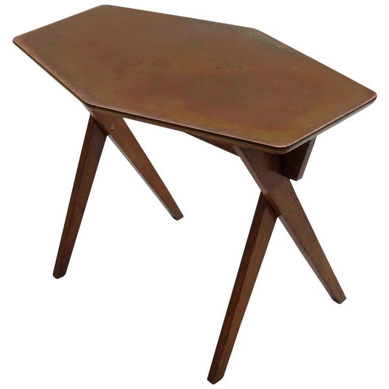 Vintage Copper and Oak Hexagonal Side Table, 1950s For Sale