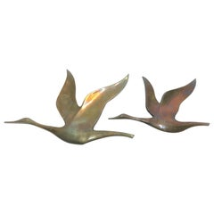 Vintage Copper Bird Sculptures, 1970s