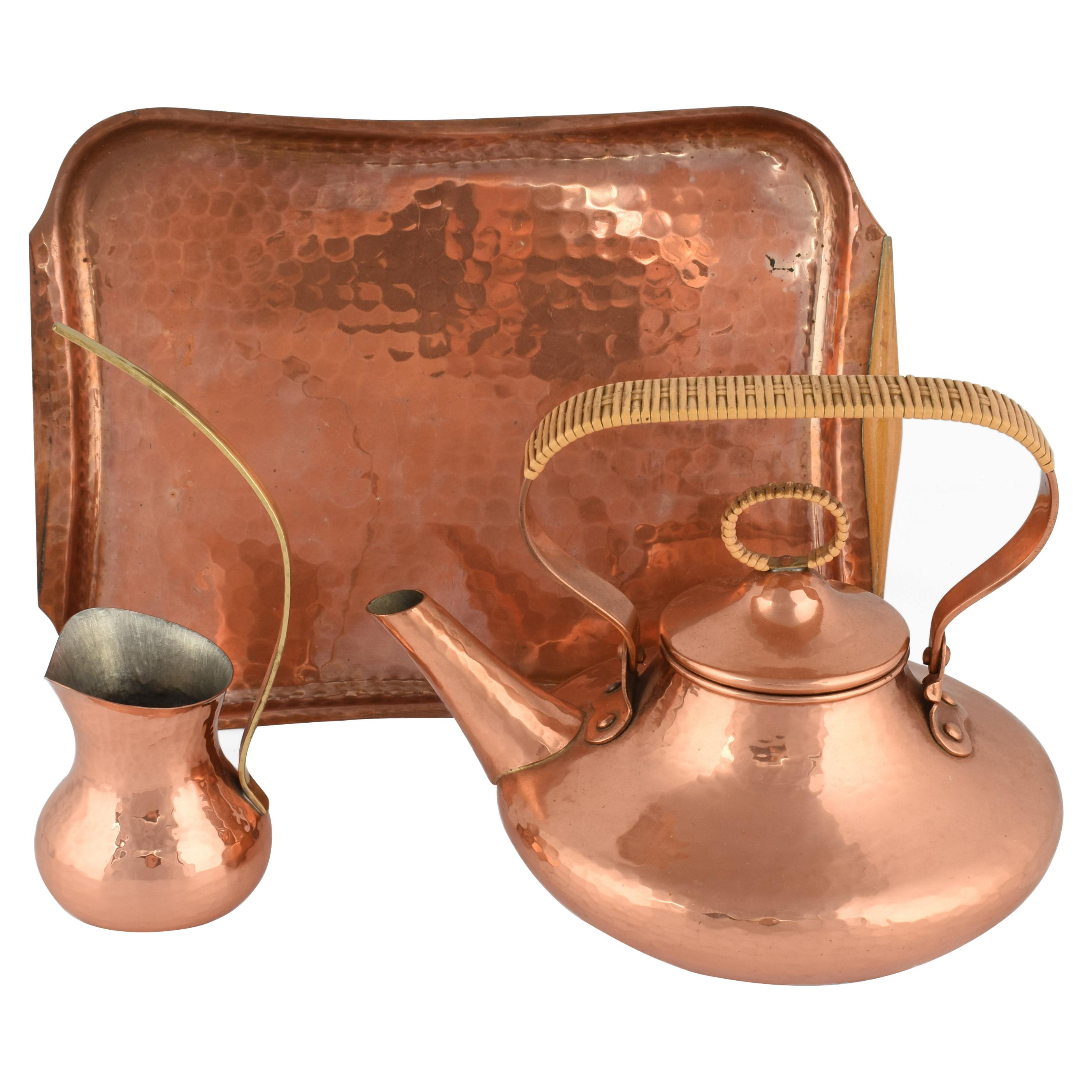 Vintage Copper Centerpiece and Tea Set by Eugen Zint, Germany, 1950s