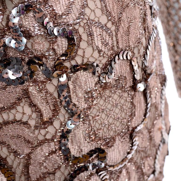 Vintage Copper Crochet Knit Top & Sequin Lace Skirt 2 Pc Evening Outfit For Sale 7