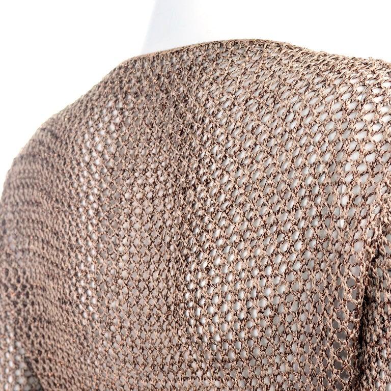 Vintage Copper Crochet Knit Top & Sequin Lace Skirt 2 Pc Evening Outfit For Sale 8