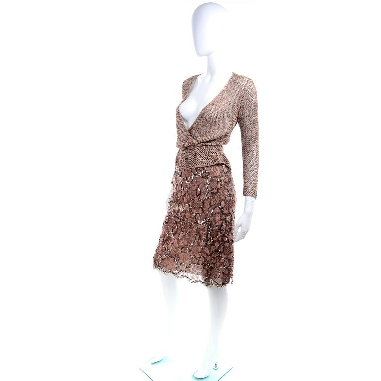 Vintage Copper Crochet Knit Top & Sequin Lace Skirt 2 Pc Evening Outfit In Good Condition For Sale In Portland, OR