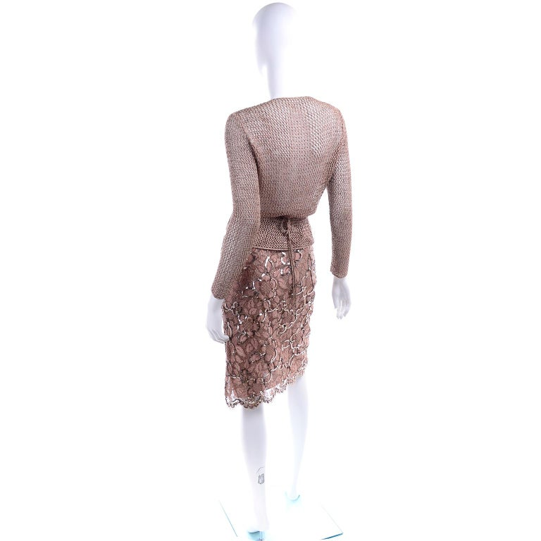 Women's Vintage Copper Crochet Knit Top & Sequin Lace Skirt 2 Pc Evening Outfit For Sale