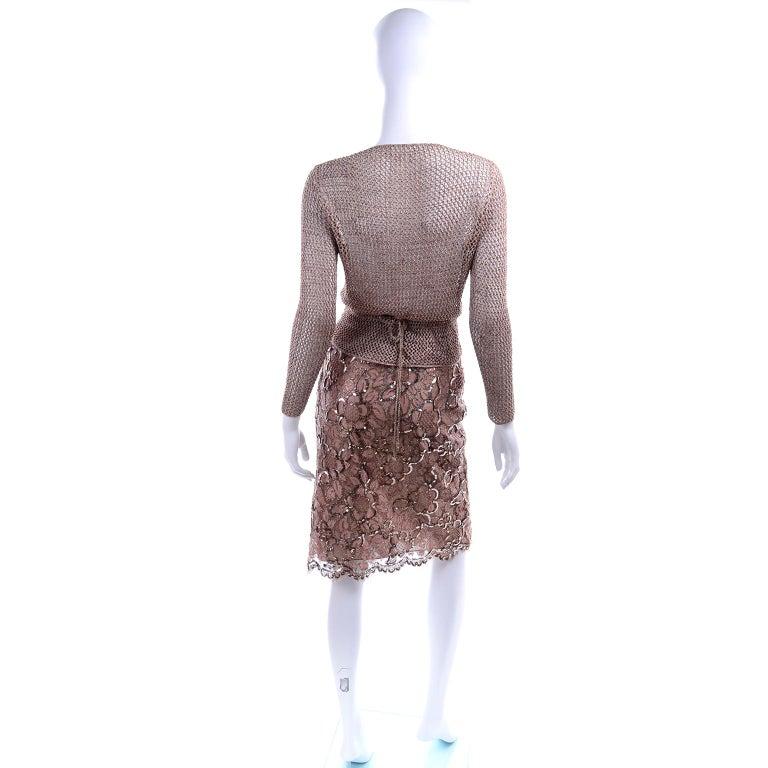 Vintage Copper Crochet Knit Top & Sequin Lace Skirt 2 Pc Evening Outfit For Sale 1