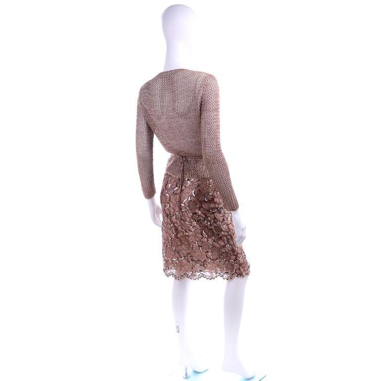 Vintage Copper Crochet Knit Top & Sequin Lace Skirt 2 Pc Evening Outfit For Sale 2
