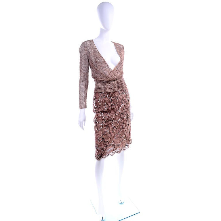 Vintage Copper Crochet Knit Top & Sequin Lace Skirt 2 Pc Evening Outfit For Sale 3