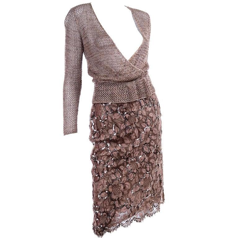 Vintage Copper Crochet Knit Top & Sequin Lace Skirt 2 Pc Evening Outfit For Sale 4