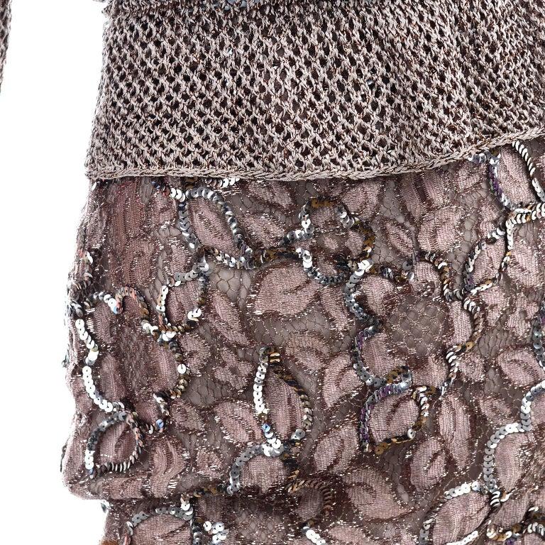 Vintage Copper Crochet Knit Top & Sequin Lace Skirt 2 Pc Evening Outfit For Sale 5
