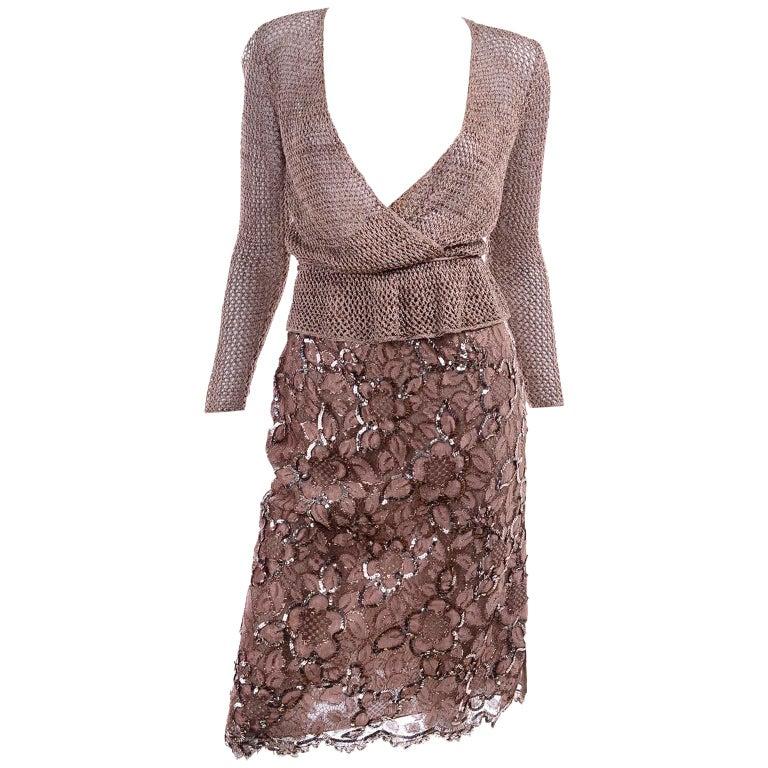 Vintage Copper Crochet Knit Top & Sequin Lace Skirt 2 Pc Evening Outfit For Sale