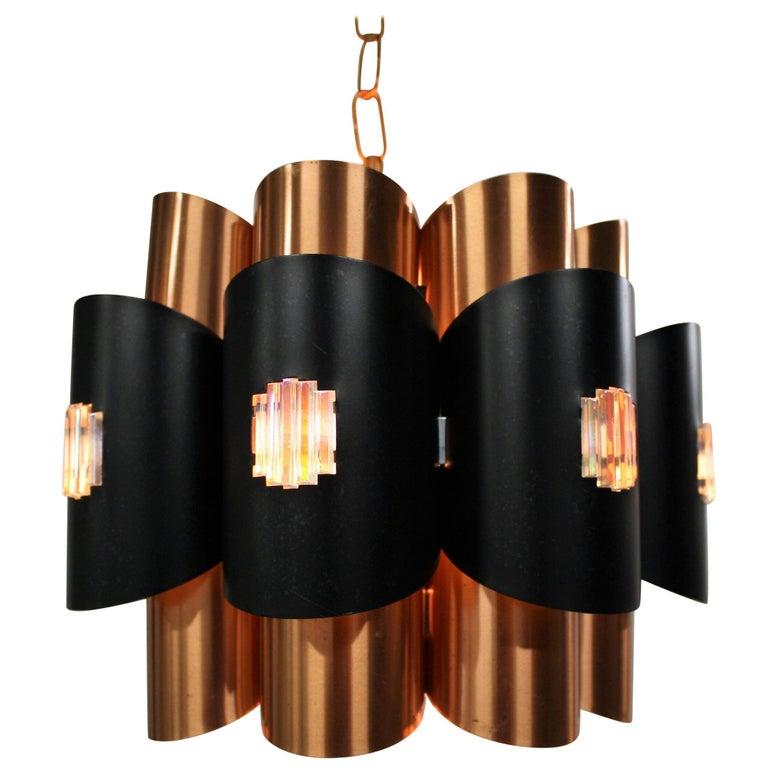 Vintage Copper Pendant Light By Werner Schou 1960s For