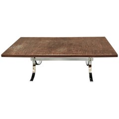 Vintage Copper-Plated Brutalist Coffee Table, 1970s