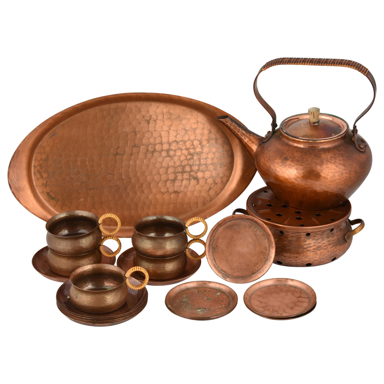 Vintage Copper Tea Set by Eugen Mint, Germany, 1960s