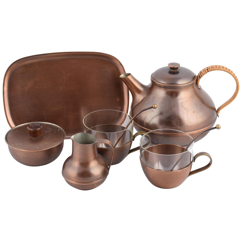 Vintage Copper Tea Set by Harald Buchrucker, Germany 1950s