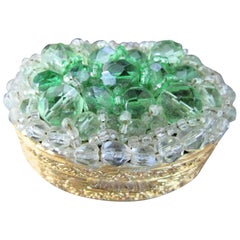 Vintage Coppola e Toppo Rare Green and Clear Crystal Encrusted Trinket Pill Box