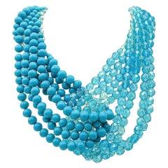 Vintage Coppola et Toppo Turquoise Beaded Torsade Necklace 1960s