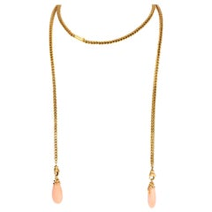 Vintage Coral 18k Gold Convertible Drop Necklace Earring Jackets