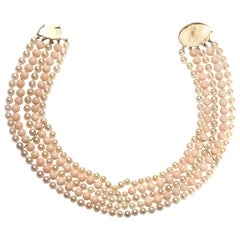 Vintage Coral and Cultured Pearl Five Row Necklace