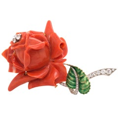 Vintage Coral and Diamond Rose Brooch French Designed