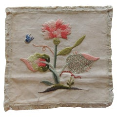 Vintage Coral and Green Crewel Work Embroidered Fragment Depicting Flowers