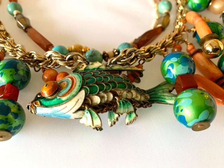 Vintage Coral and Turquoise Articulated Cloisonne Enamel Koi Fish Bib Necklace For Sale 5