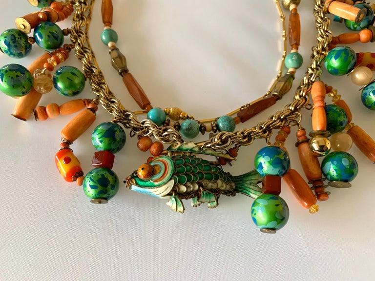 Vintage Coral and Turquoise Articulated Cloisonne Enamel Koi Fish Bib Necklace For Sale 6