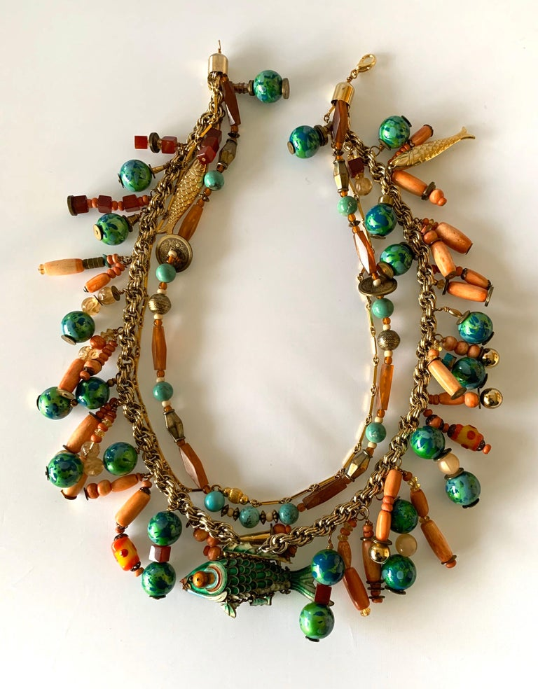 Vintage Coral and Turquoise Articulated Cloisonne Enamel Koi Fish Bib Necklace For Sale 7