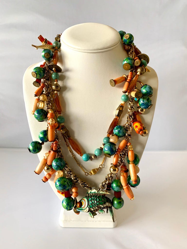 Vintage Coral and Turquoise Articulated Cloisonne Enamel Koi Fish Bib Necklace In Excellent Condition For Sale In Palm Springs, CA