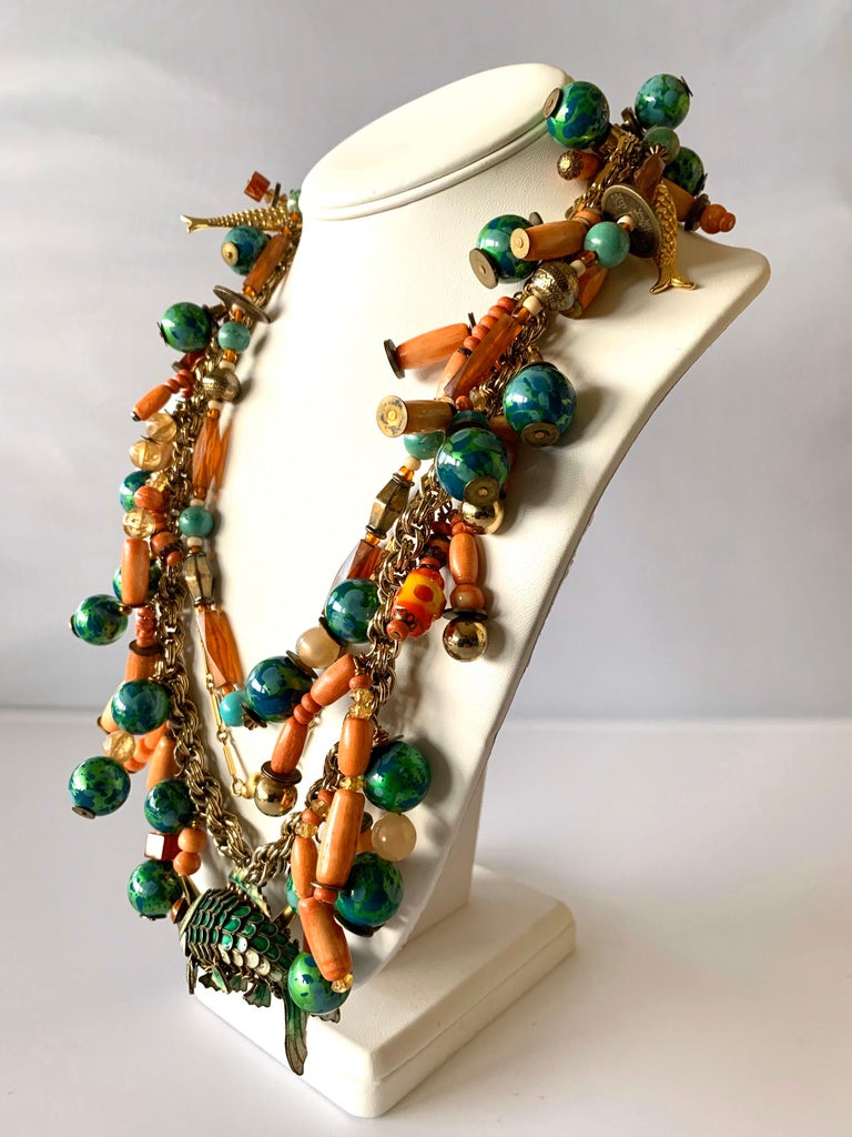 Women's Vintage Coral and Turquoise Articulated Cloisonne Enamel Koi Fish Bib Necklace For Sale