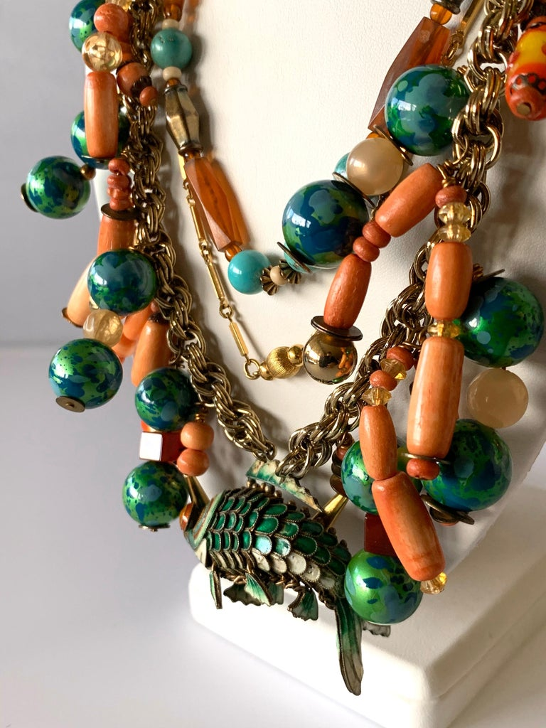 Vintage Coral and Turquoise Articulated Cloisonne Enamel Koi Fish Bib Necklace For Sale 1