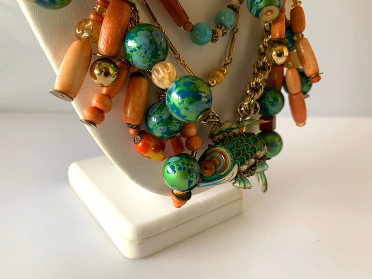 Vintage Coral and Turquoise Articulated Cloisonne Enamel Koi Fish Bib Necklace For Sale 2