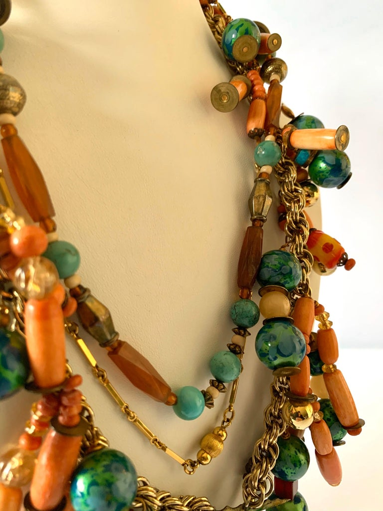 Vintage Coral and Turquoise Articulated Cloisonne Enamel Koi Fish Bib Necklace For Sale 3