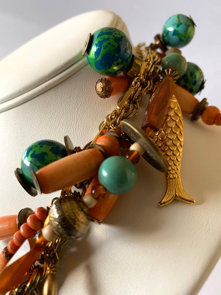 Vintage Coral and Turquoise Articulated Cloisonne Enamel Koi Fish Bib Necklace For Sale 4