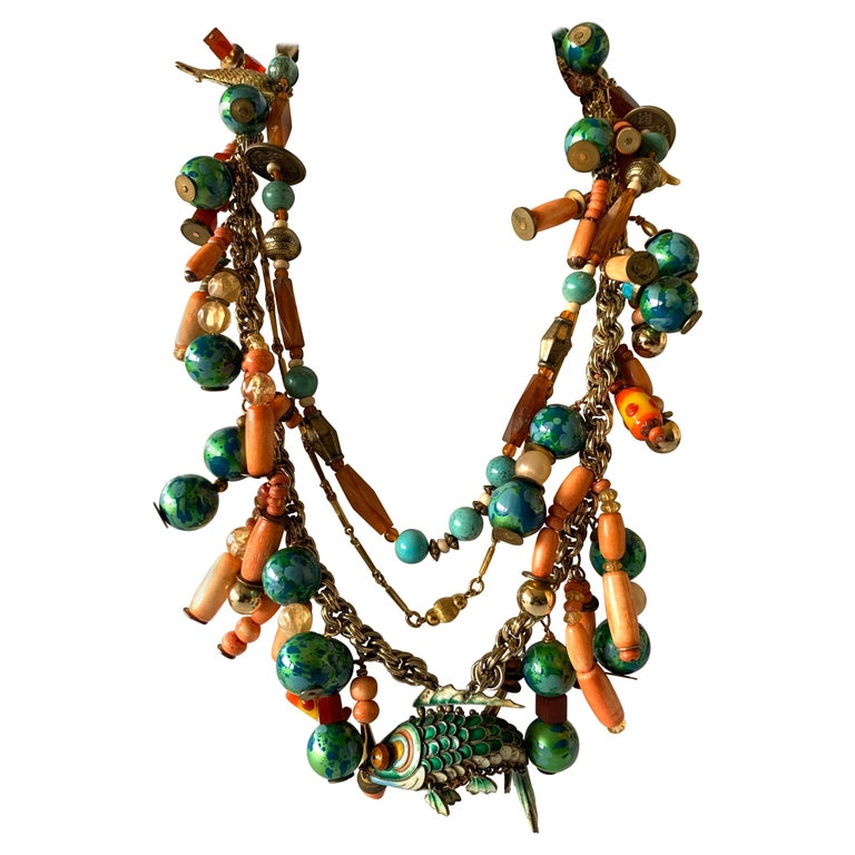 Vintage Coral and Turquoise Articulated Cloisonne Enamel Koi Fish Bib Necklace For Sale