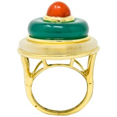 Vintage Coral Chrysoprase Rock Crystal 18 Karat Gold Circle Ring