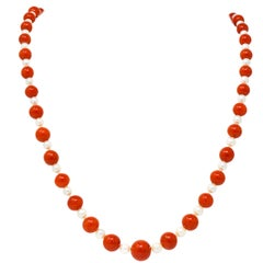 Vintage Coral Cultured Pearl 14 Karat Gold Strand Necklace