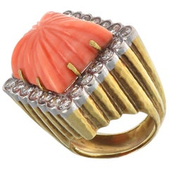 Vintage Coral Diamond Gold Cocktail Ring