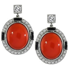 Vintage Coral Diamond Onyx Gold Earrings