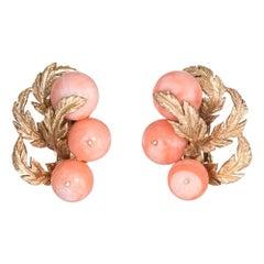 Vintage Coral Earrings 14 Karat Gold Clip-On Leaf Design Estate Fine Jewelry
