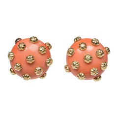 Vintage Coral Gold Button Earrings Clip On Earrings