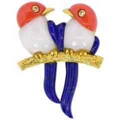 Vintage Coral Jade Lapis Lazuli Gold Bird Brooch
