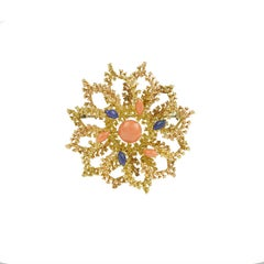 Vintage Coral Lapis Lazuli 18 Karat Yellow Gold Sea Urchin Brooch