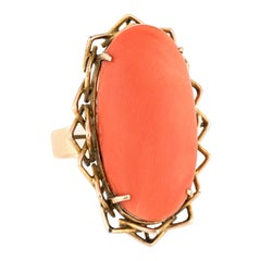 Vintage Coral Ring Large Oval Cocktail 18 Karat Yellow Gold Estate Fine Jewelry