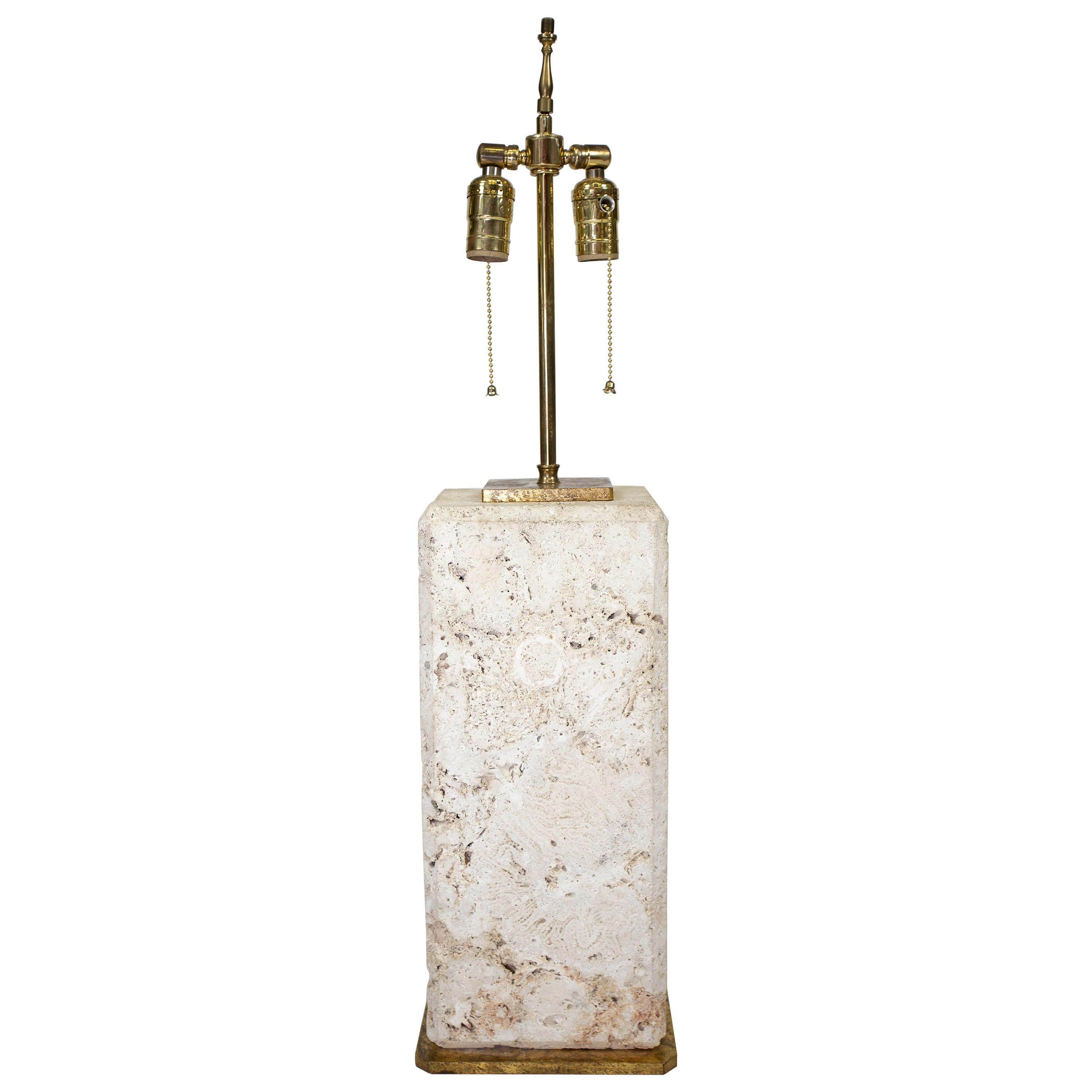 Vintage Coral Stone Table Lamp