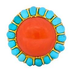 Vintage Coral Turquoise 14 Karat Gold Cluster Ring, circa 1960