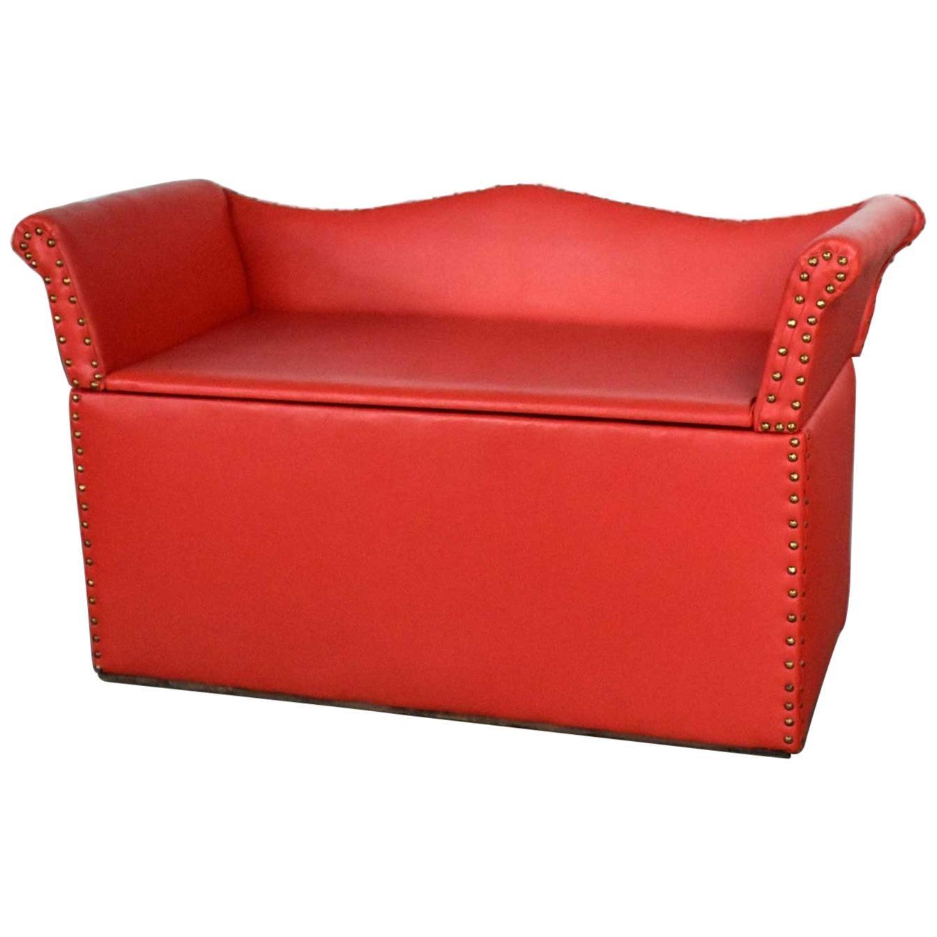 Vintage Coral Vinyl Faux Leather Cedar Lined Storage Bench Settee Nailhead Det