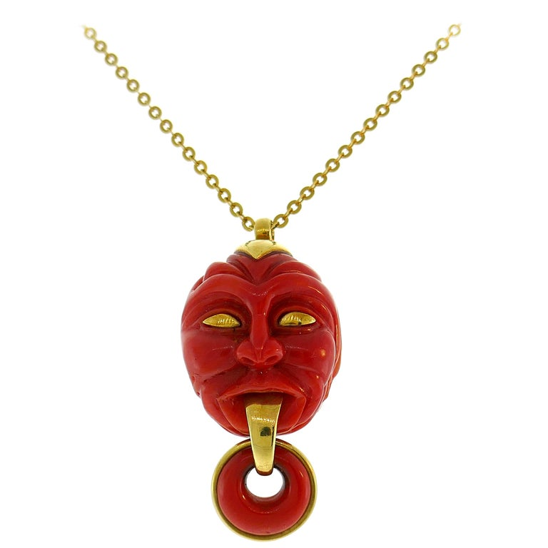 Vintage Coral Yellow Gold Pendant Necklace For Sale