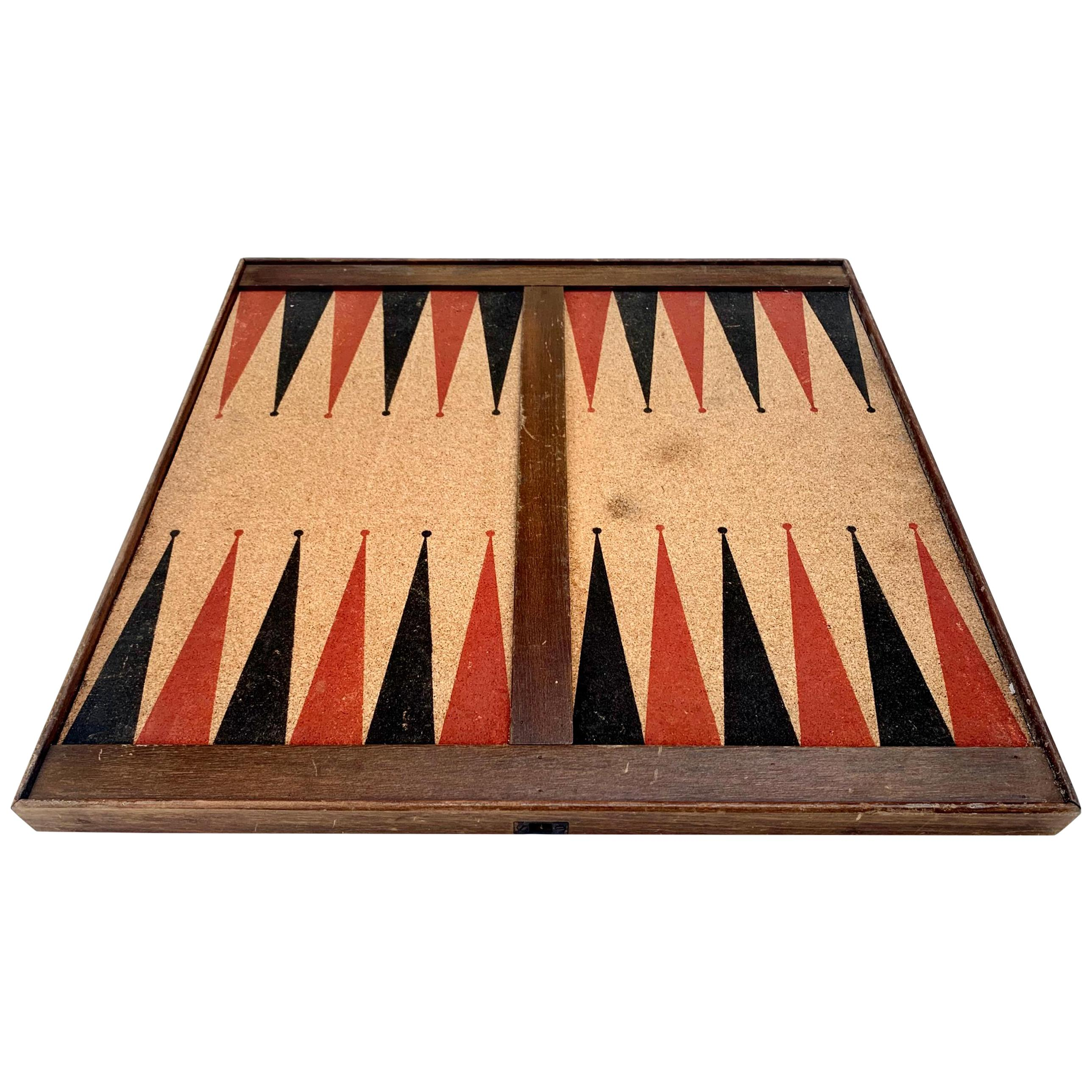 Vintage Cork and Wood Backgammon/ Chess Board