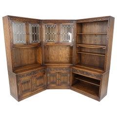 Vintage Corner Cabinet, 3 Piece, Oak, Linen Fold, Bookcase, Scotland 1950, B2702